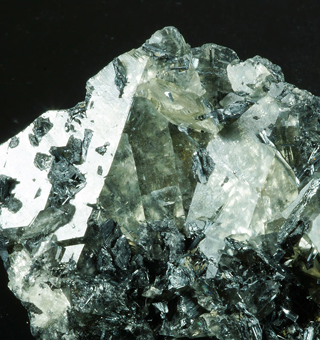 Stibnite and Calcite,Xianhuang mine, Hechi Prefecture, Hunan Province, China