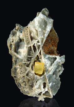 Calcite with grossular garnet on quartz- Oridda valley, Domusnovas, ,Sardinia, Italy