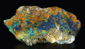 Azurite with Malachite on Chalcopyrite and Quartz - Serrabottini mine, Massa Marittima, Tuscany, Italy