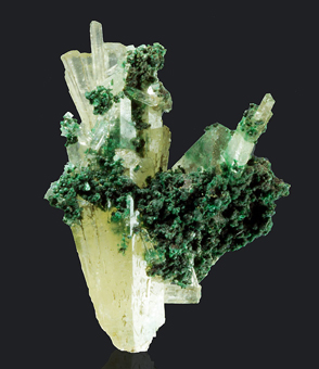 Malachite on Aragonite var. Tarnowitzite - Tsumeb mine, Tsumeb, Namibia