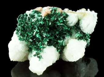 Malachite on Calcite - Tsumeb mine, Tsumeb, Namibia