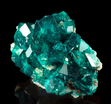Dioptase with Calcite - Tsumeb mine, Tsumeb, Namibia
