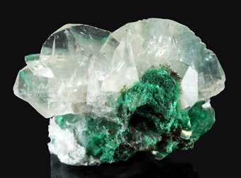 Calcite with Malachite - Tsumeb mine, Tsumeb, Namibia
