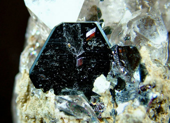 Hematite with Rutile on Quartz var. Smoky Quartz - Cavradi gorge, Curnera Valley, Tujetsch (Tavetsch), Vorderrhein Valley, Grischun (Grisons; Graubünden), Switzerland