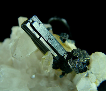 Bournonite on Quartz - Yaogangxian Mine, Yaogangxian W-Sn ore field, Yizhang Co., Chenzhou Prefecture, Hunan Province, China