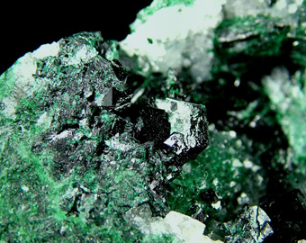 Clinoatacamite and Atacamite on Quartz - Lily Mine (Lilly Mine), Pisco Umay, Ica Department, Peru