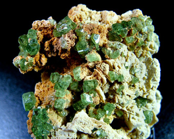 Andradite var. Demantoid - Antetezambato Demantoid-Topazolite Mine, Antetezambato (Tetezambato), Maherivaratra Commune, Ambanja District, Diana Region (Northern Region), Antsiranana Province, Madagascar