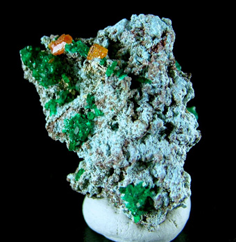 Wulfenite on Dioptase - M'fouati, M'fouati District, Bouenza Department, Republic of Congo (Brazzaville)