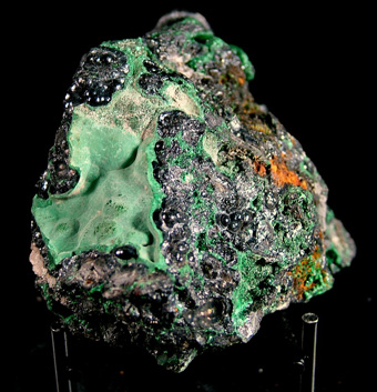 Heterogenite with Malachite - L'Etoile du Congo Mine (Star of the Congo Mine; Kalukuluku Mine), Lubumbashi (Elizabethville), Katanga (Shaba), Democratic Republic of the Congo