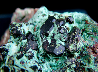 Cuprite on Chrysocolla - Mashamba West Mine, Kolwezi mining district, Lualaba, DR Congo