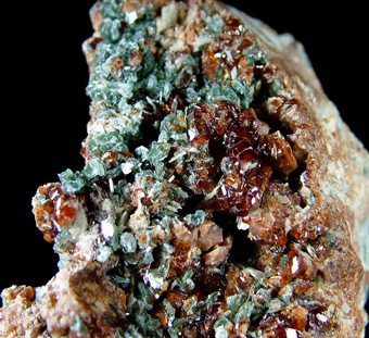 Grossular, var. Hessonite with Diopside and