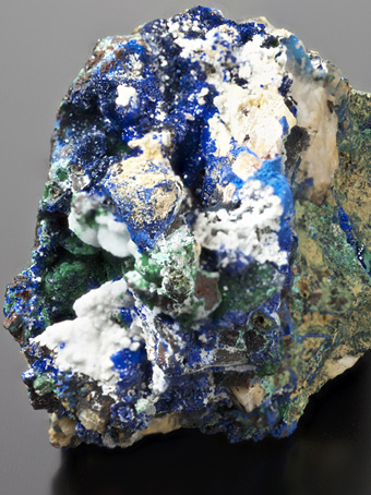 Azurite, Malachite - Aouli, Upper Moulouya lead district, Midelt, Khénifra Province, Meknès-Tafilalet Region, Morocco