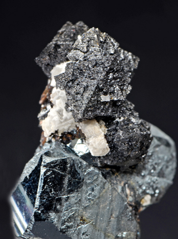 Hausmannite on Hematite - N'Chwaning II Mine, Kuruman, Kalahari manganese fields, Northern Cape Province, South Africa