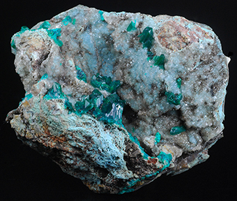 Dioptase, plancheite and quartz - Tantara mine - Shinkolobwe - Katanga Copper Crescent - Katanga - Democratic Republic of Congo (Zaïre)