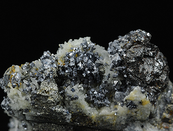 Gudmundite, galena, sphalerite, chalcopyrite and quartz - Vein 22B55 - Level 28 -Uranium Mine No. 19 - Dubenec - Príbram - Central Bohemia Region - Bohemia - Czech Republic