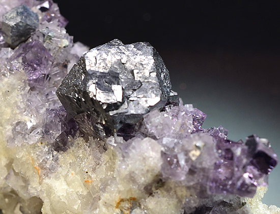 Galena on Fluorite - Blackdene Mine, Ireshopeburn, Weardale, North Pennines, Co. Durham, England, UK