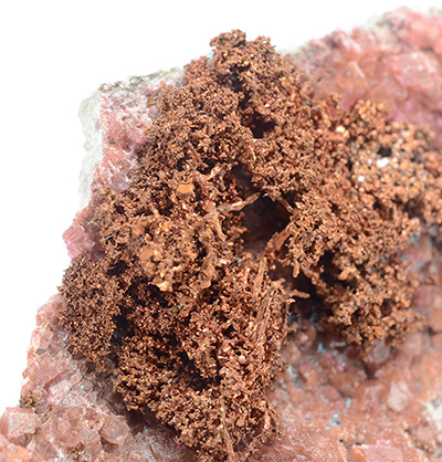 Copper with Cobaltoan Calcite - Mashamba West Mine, Kolwezi District, Katanga, Democratic Republic of Congo (Zaïre)
