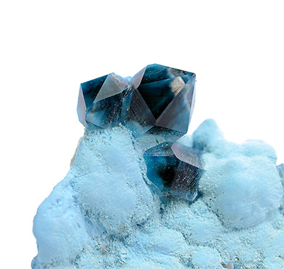Quartz (blue) on Chrysocolla - Mashamba West Mine, Kolwezi District, Katanga, Democratic Republic of the Congo
