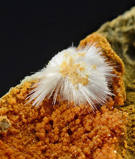 Desautelsite with Artinite - Artinite pit, Picacho Peak, New Idria Mining District, San Benito Co., California, USA